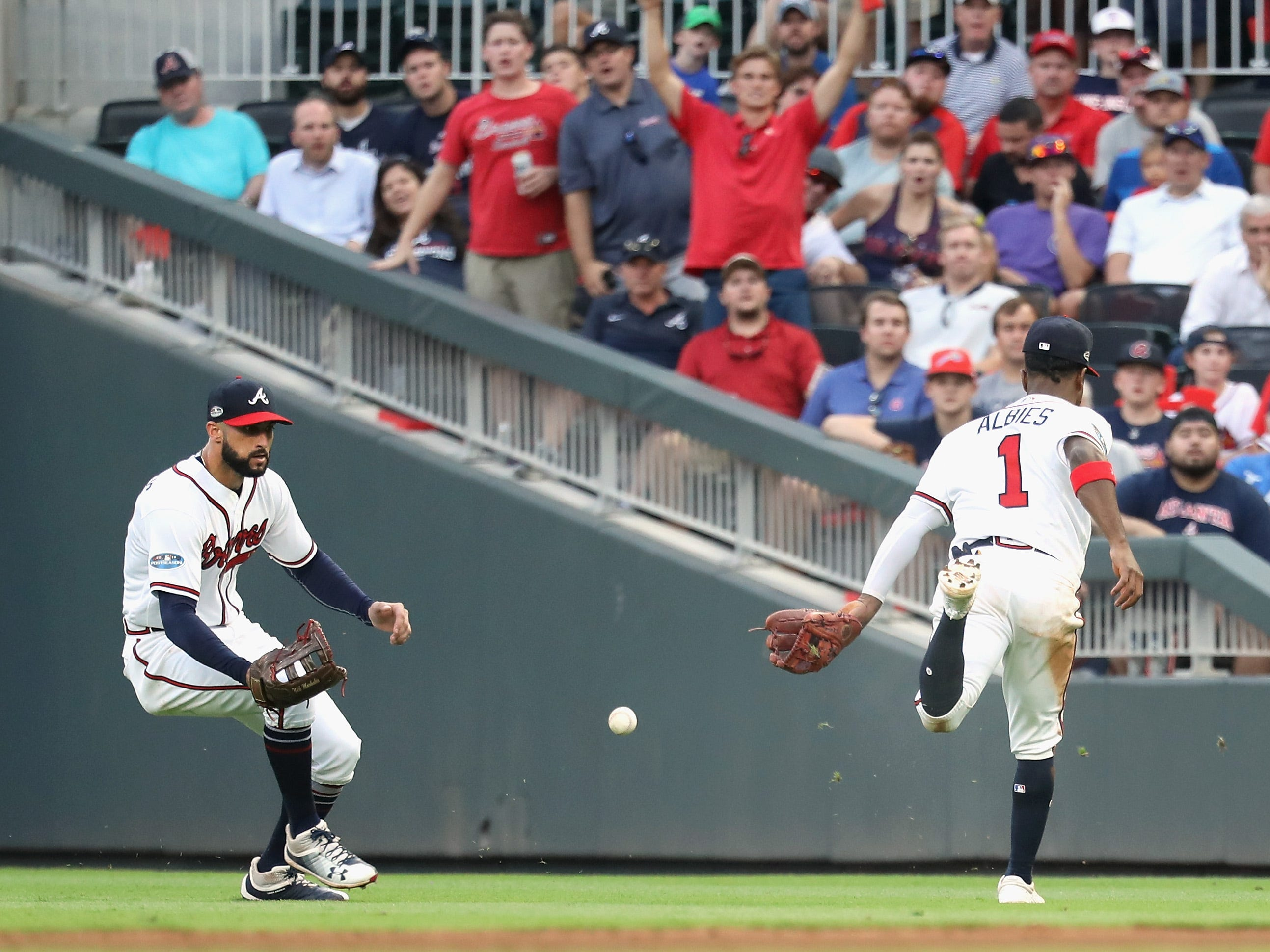NLDS Game 4: A bloop single falls in between right fielder Nick Markakis and second baseman Ozzie Albies in the sixth inning.