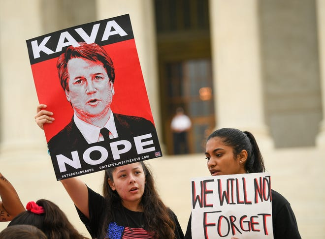 A group of nearly 35 protesters gathered in front of the Supreme Court Tuesday as Associate Justice Brett Kavanaugh assumed the bench for the first time.