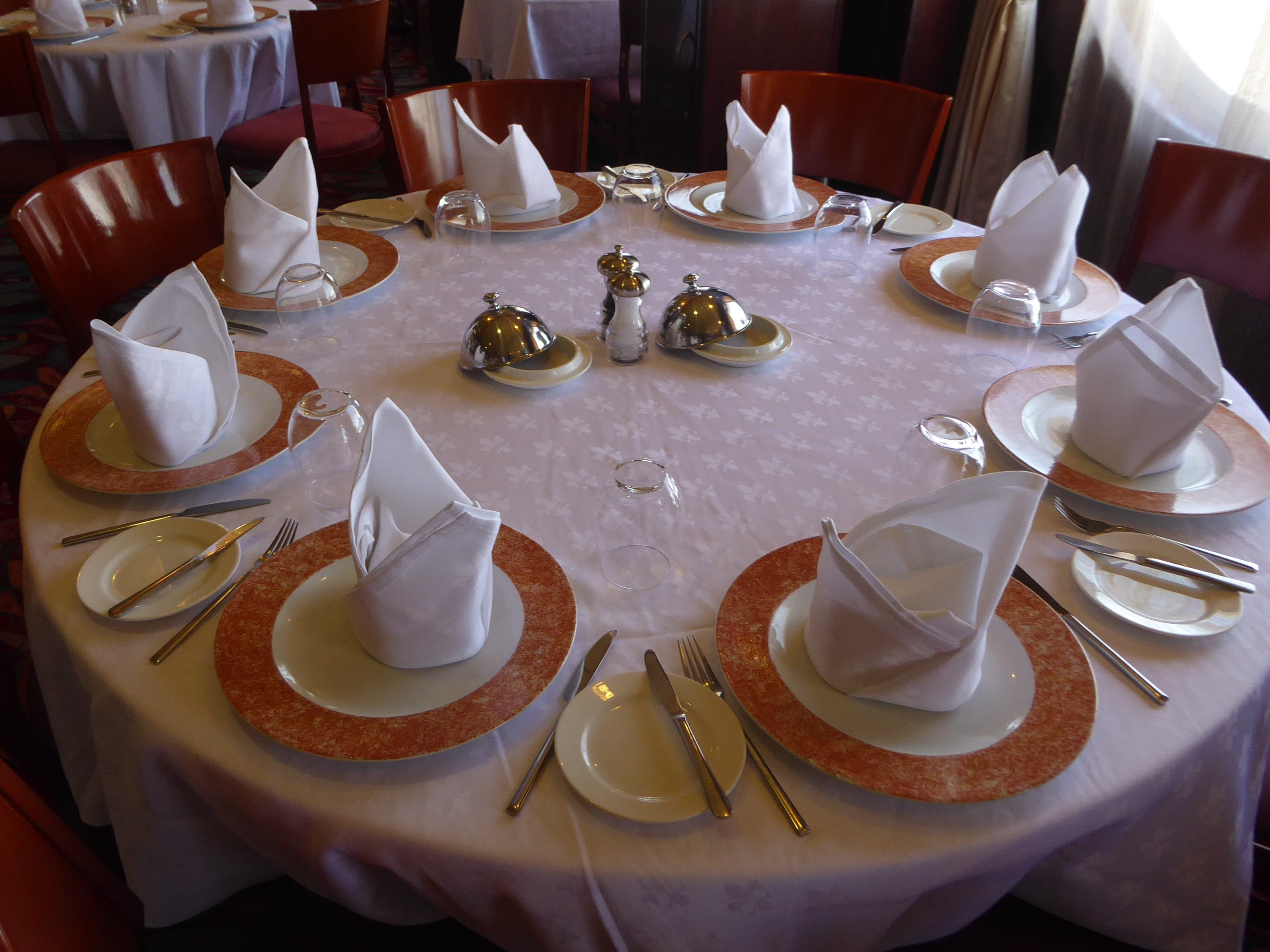 This is a table setting in Admiral's Steak and Seafood restaurant.