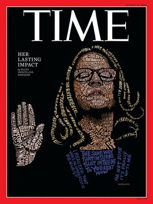 Time Magazine cover with John Mavroudis illustration of Christine Blasey Ford,  Oct. 15, 2018