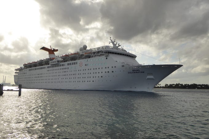The 47,263-gross-ton, 1,486-guest Grand Celebration sails for West Palm Beach, Florida-based Bahamas Paradise Cruise Line on two-night cruises to Freeport, Bahamas.