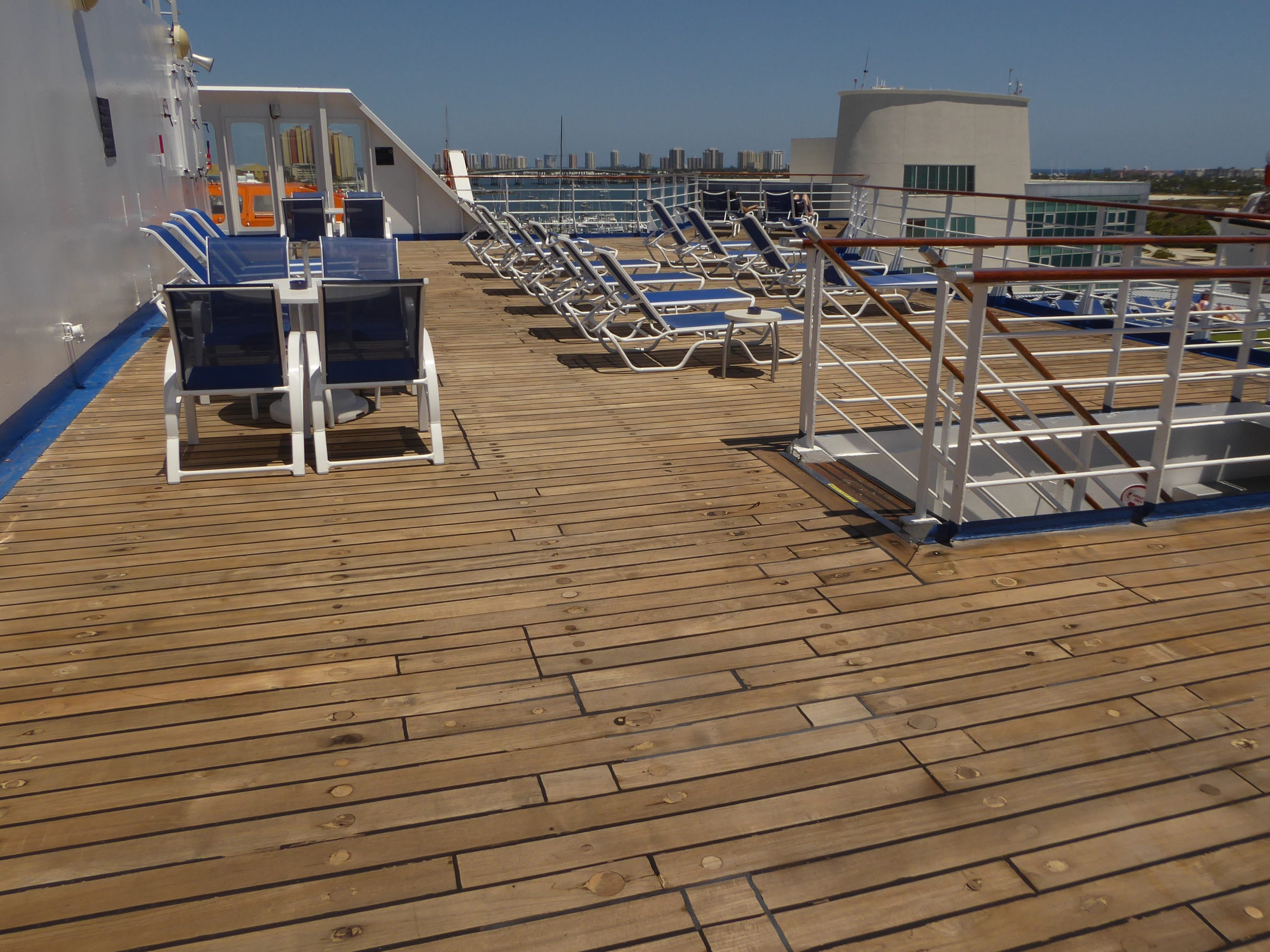 There is a generous amount of open sunning space on aft Sun Deck.