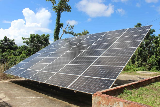 A solar panel in Humacao, Puerto Rico, on Sept. 12, 2018.