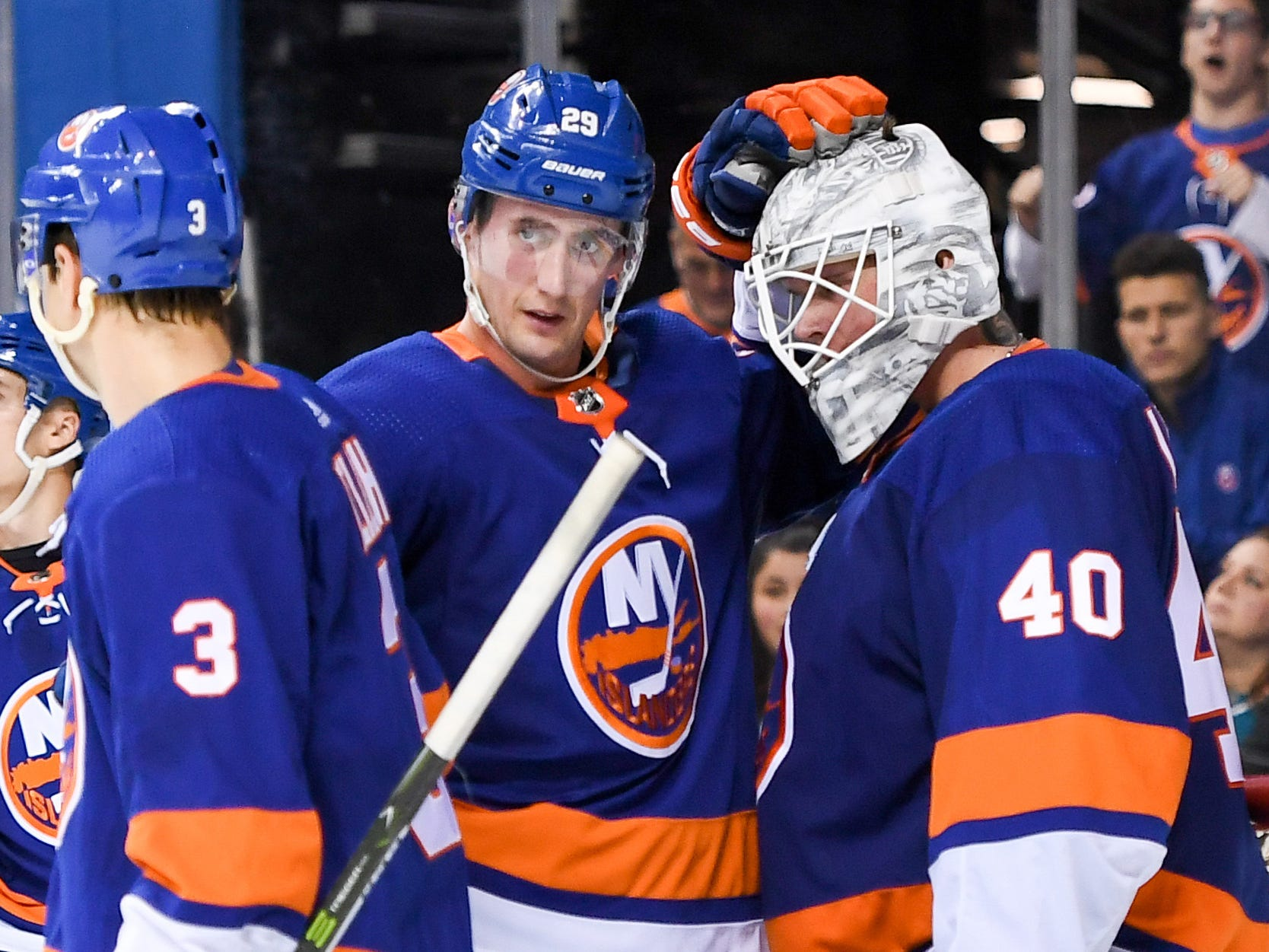 Oct 8. Goaltender Robin Lehner, right, is congratulated after getting a shutout in his Islanders debut. He made 35 saves in his first game since he left a March game with Buffalo because of a panic attack.