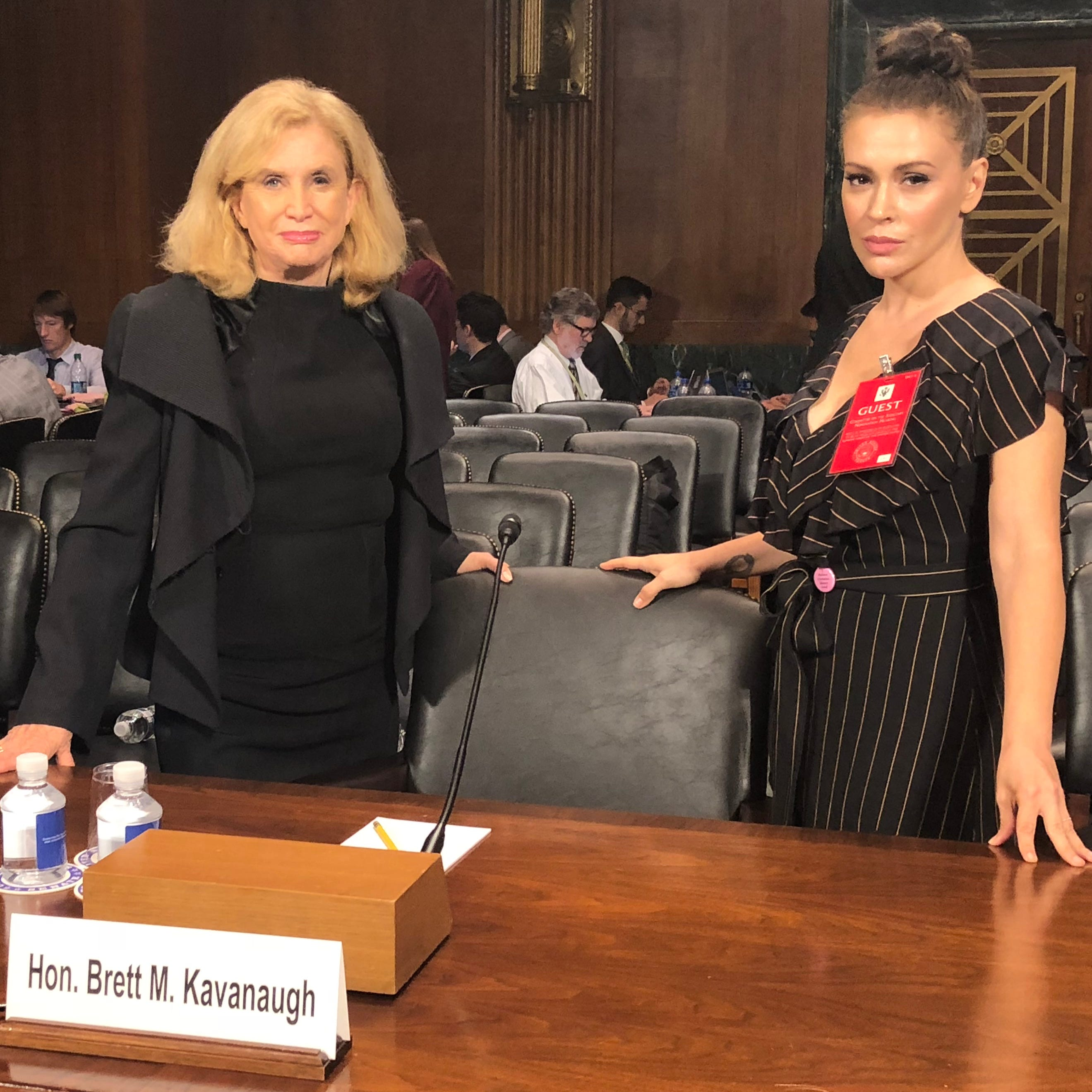 Rep. Carolyn Maloney, D-N.Y., left, and actress and activist Alyssa Milano, on Sept. 27, 2018 in the Senate Judiciary Committee hearing room, where now-Justice Brett Kavanaugh answered allegations that he sexually assaulted Christine Blasey Ford in high school.