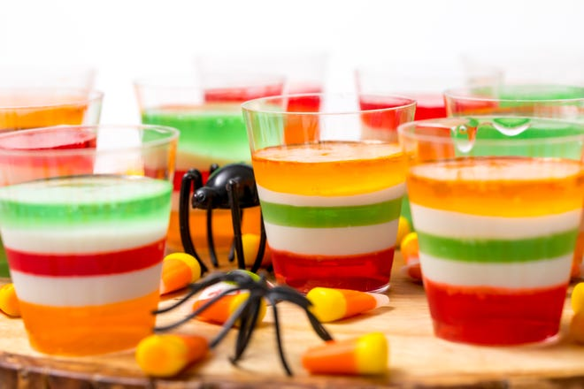 Halloween-themed Jell-O shots are simple, colorful and tasty.
