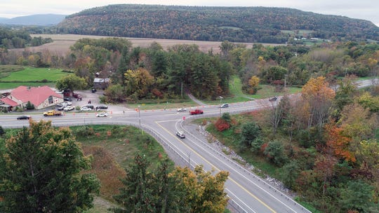 Drone photo of the scene at Route 30 and Route 30A in Schoharie, New York,  where a limousine car accident kill 17 passengers plus the driver and an additional two pedestrians Saturday, Oct. 6, 2018.