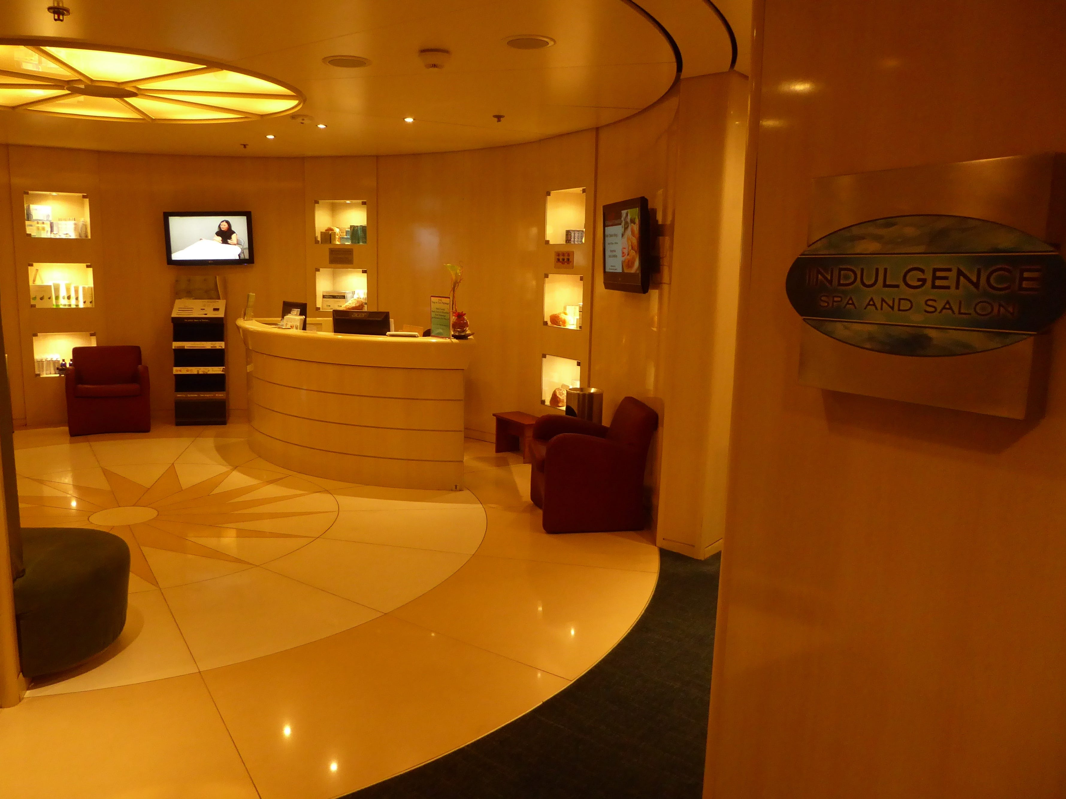 The Indulgence Spa and Salon is located at the aft end of Paradise Deck.
