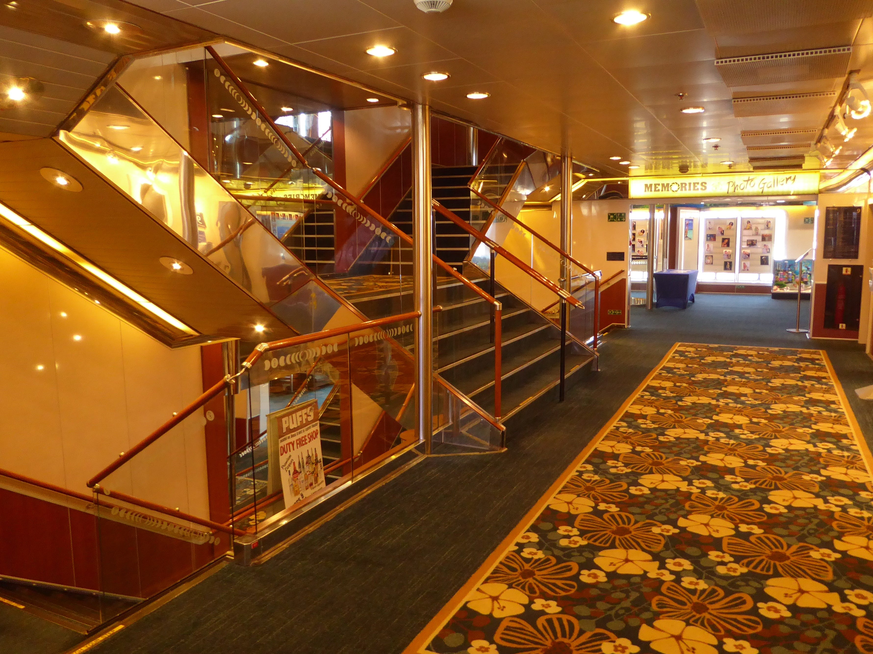 The Grand Celebration is vertically accessed via three main stair towers and eight lifts. This is the forward stair tower on Paradise Deck.