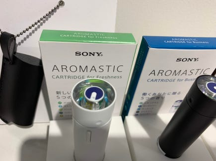 """Sony's """"personal aroma diffuser,"""" brings five different scents from a cartridge into a portable product the size of lipstick."""