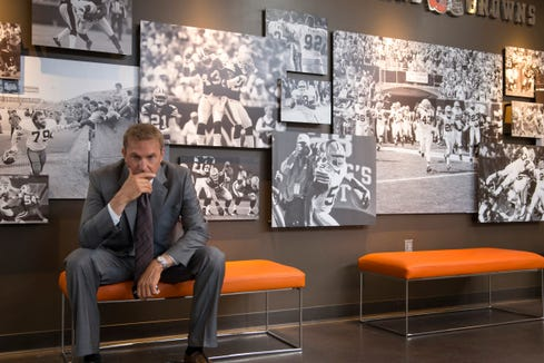 "Kevin Costner stars as the embattled general manager of the Cleveland Browns in ""Draft Day."""