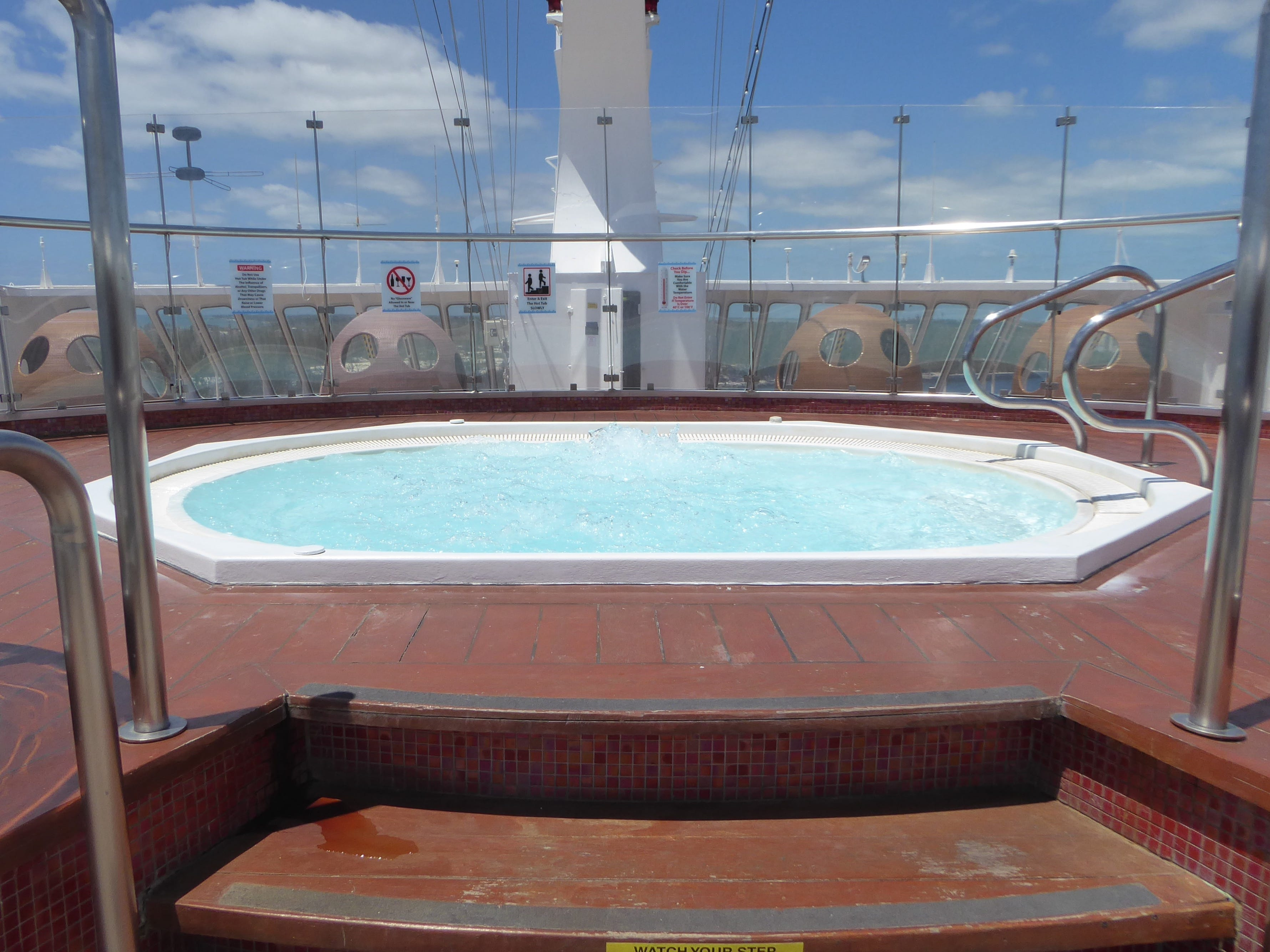 Sun Deck also boasts a large Jacuzzi.