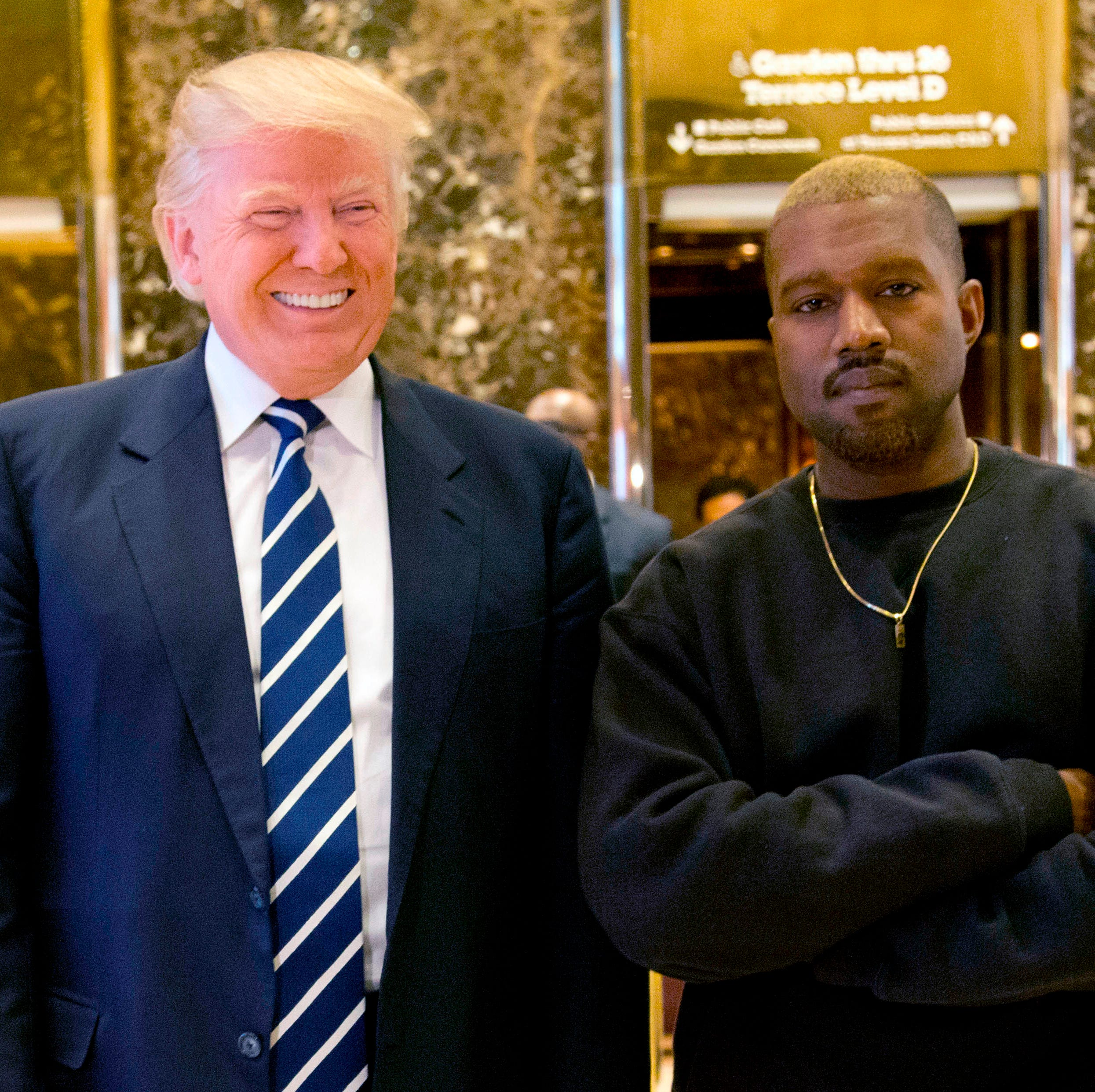 Then-president-elect Donald Trump and Kanye West at Trump Tower on Dec. 13, 2016.