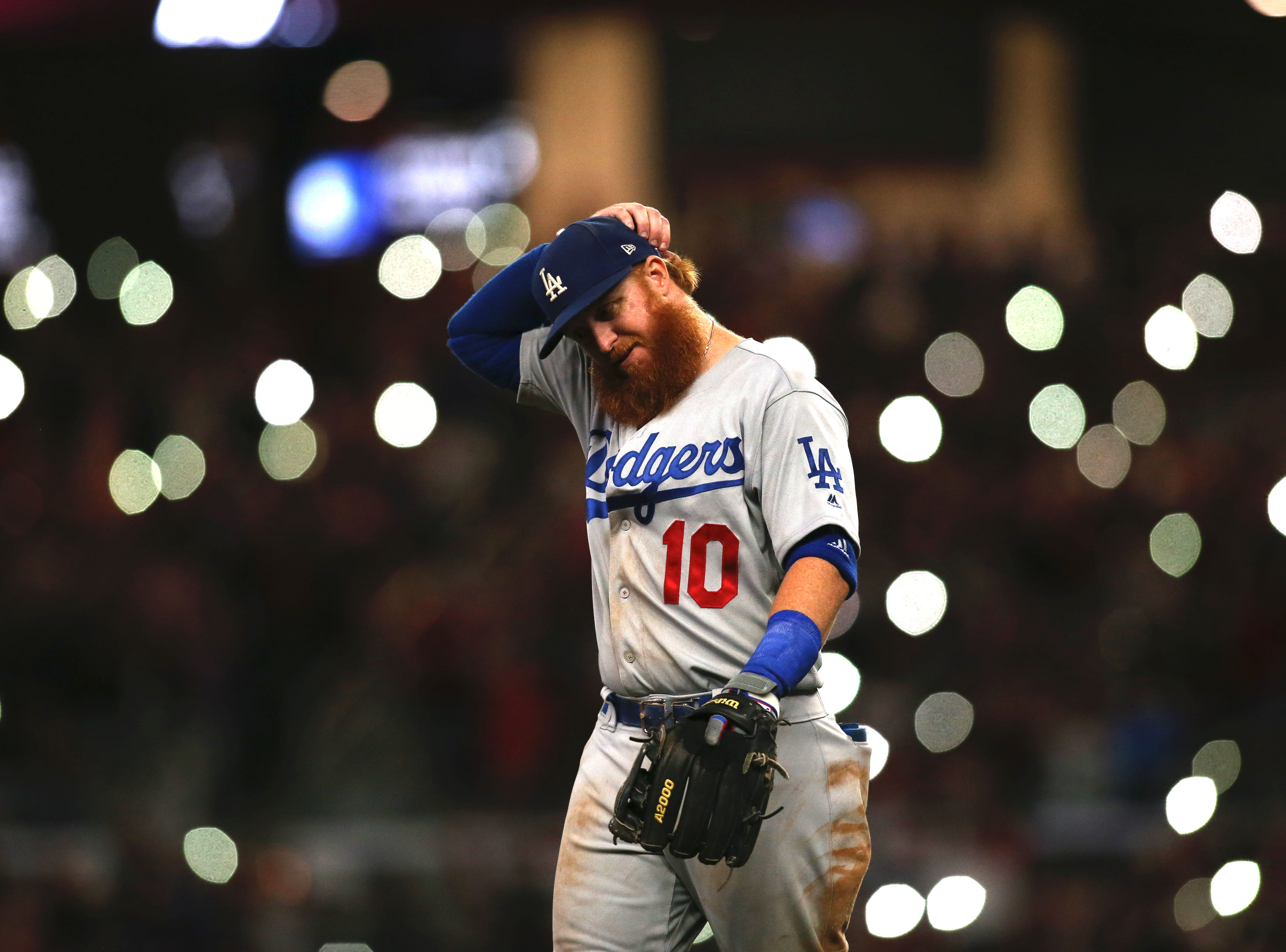NLDS Game 4: Dodgers third baseman Justin Turner waits during a pitching change.