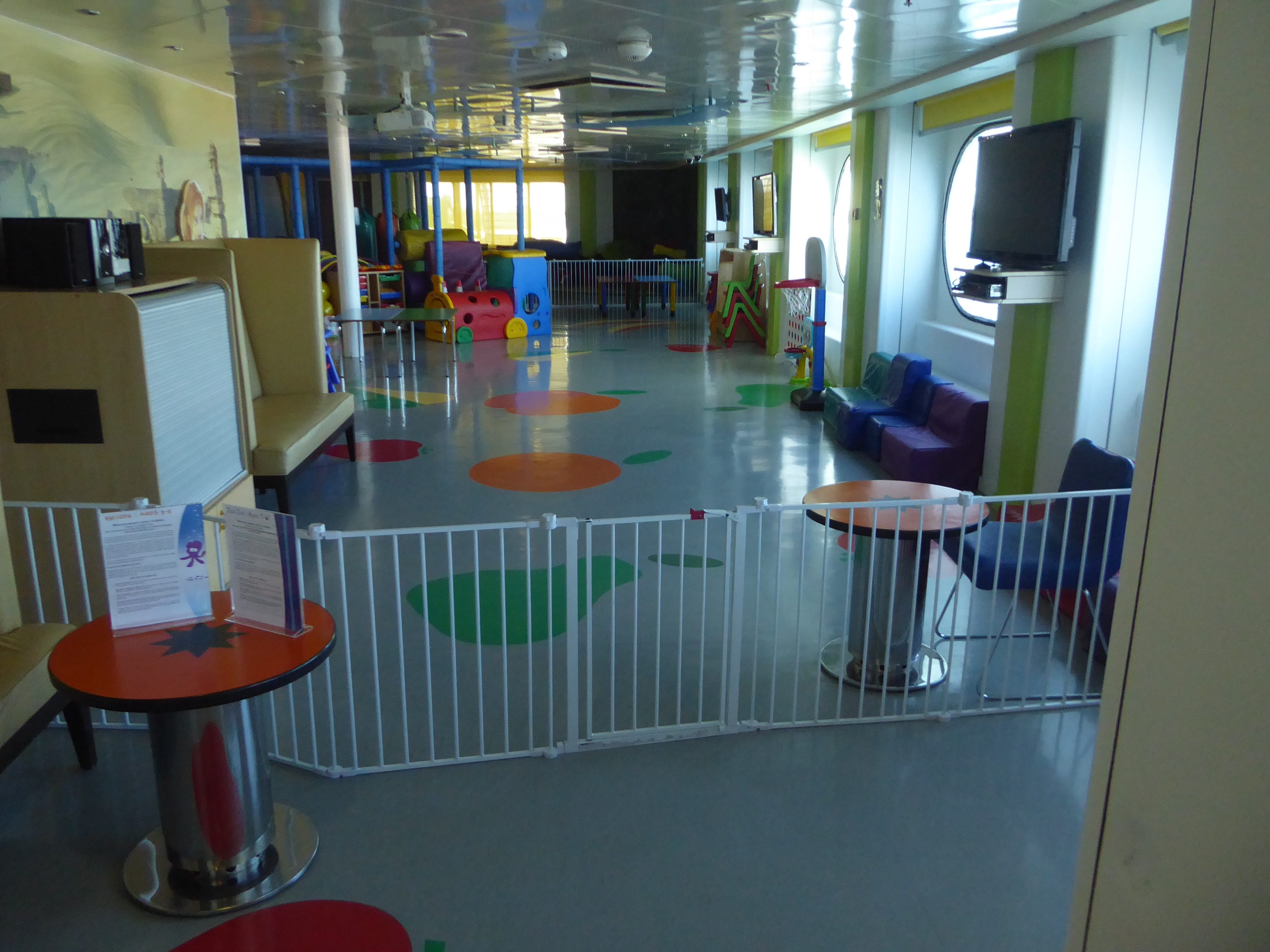 Kruzers is a playroom on aft Paradise Deck for kids aged 3-7.