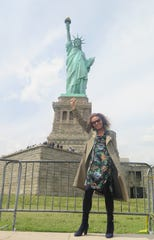 Diane Von Furstenberg at the Statue of Liberty in New York City.