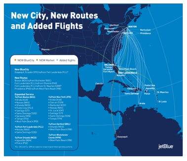 A look at JetBlue Airways' new routes.