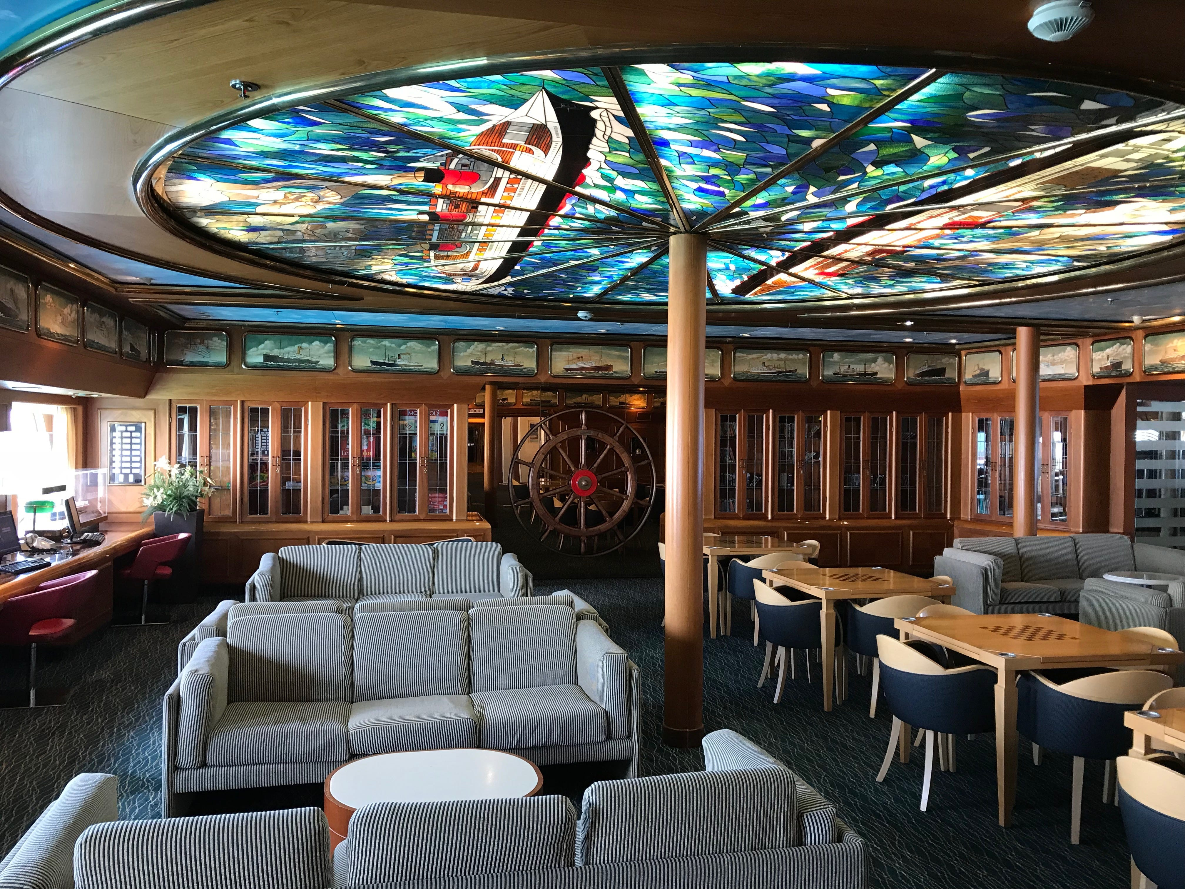 The Helm retains much of its ocean liner-themed decor from its first incarnation as the Celebration's Admiralty Library.