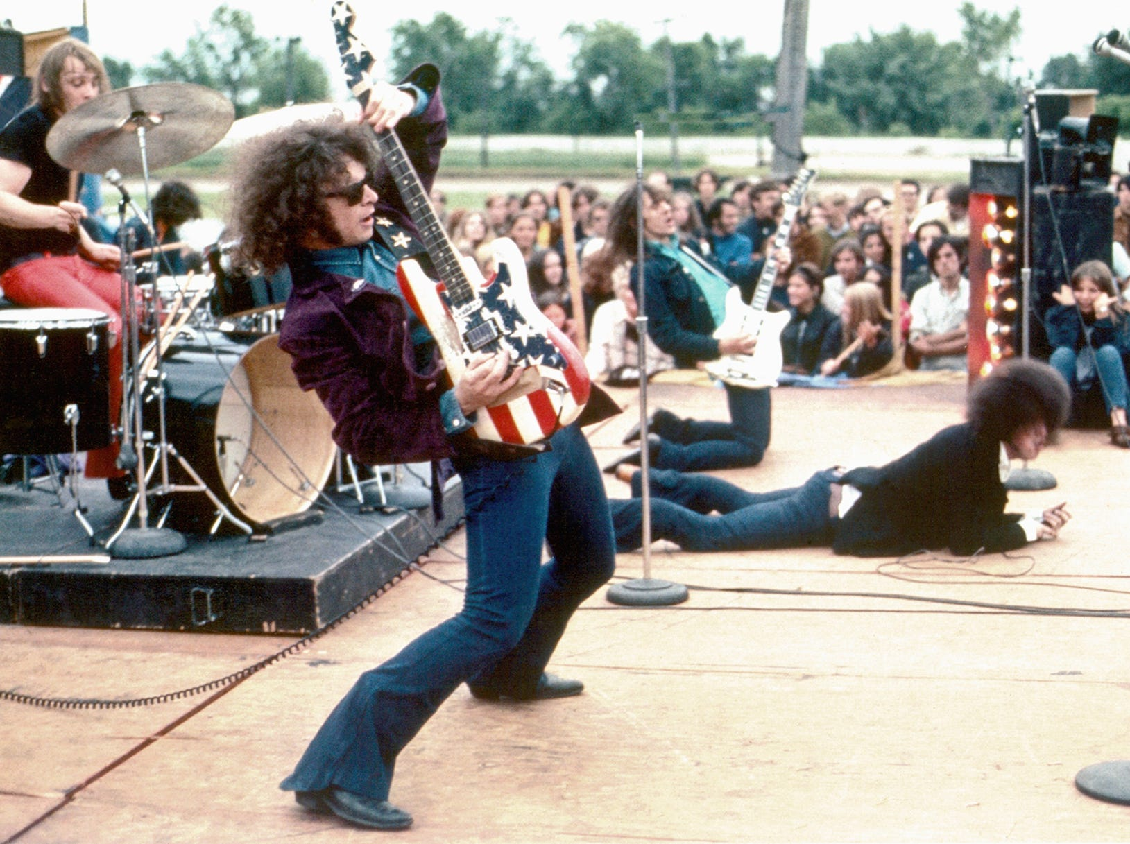 "The rock group MC5  (L-R Dennis ""Machine Gun"" Thompson, Wayne Kramer, Fred ""Sonic"" Smith and  Rob Tyner) performs live in 1969 in Mount Clemens, Mich."