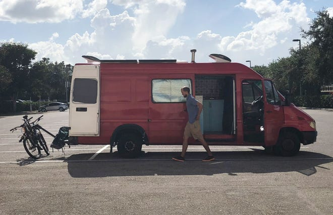 The van Matt and Alli Owen bought for $8,800 earlier this year, and have called home ever since.