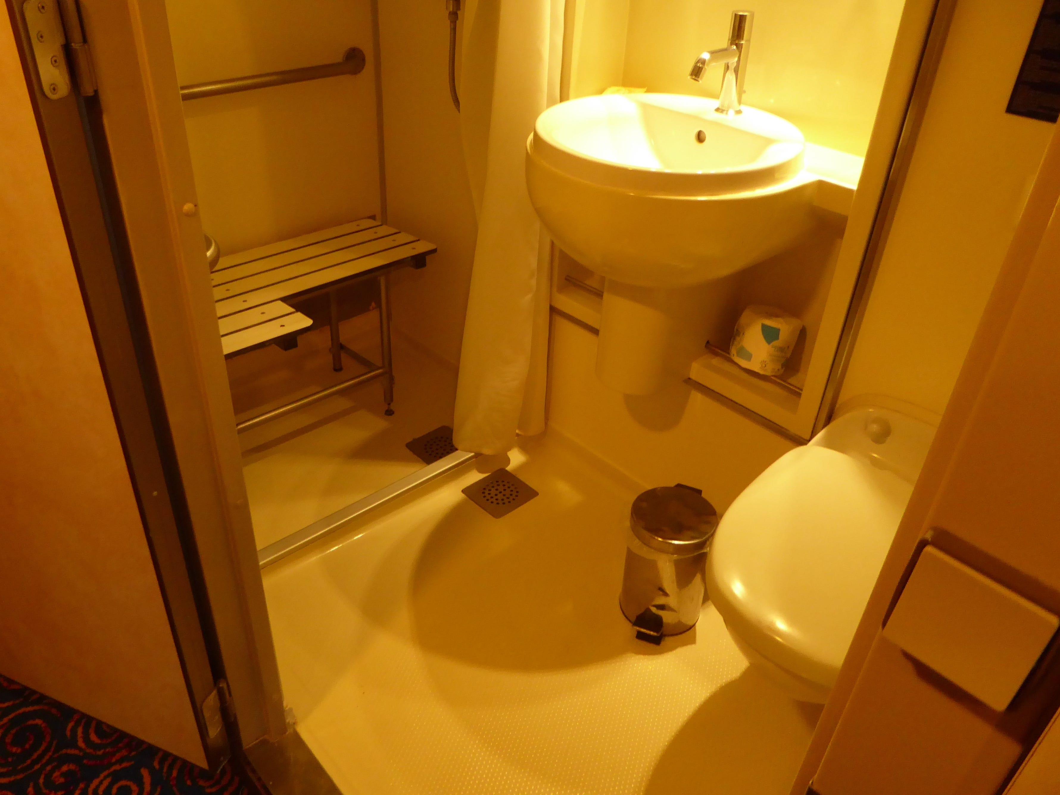 Several staterooms on the Grand Celebration have modified bathrooms with a shower seat to accommodate wheelchair guests.