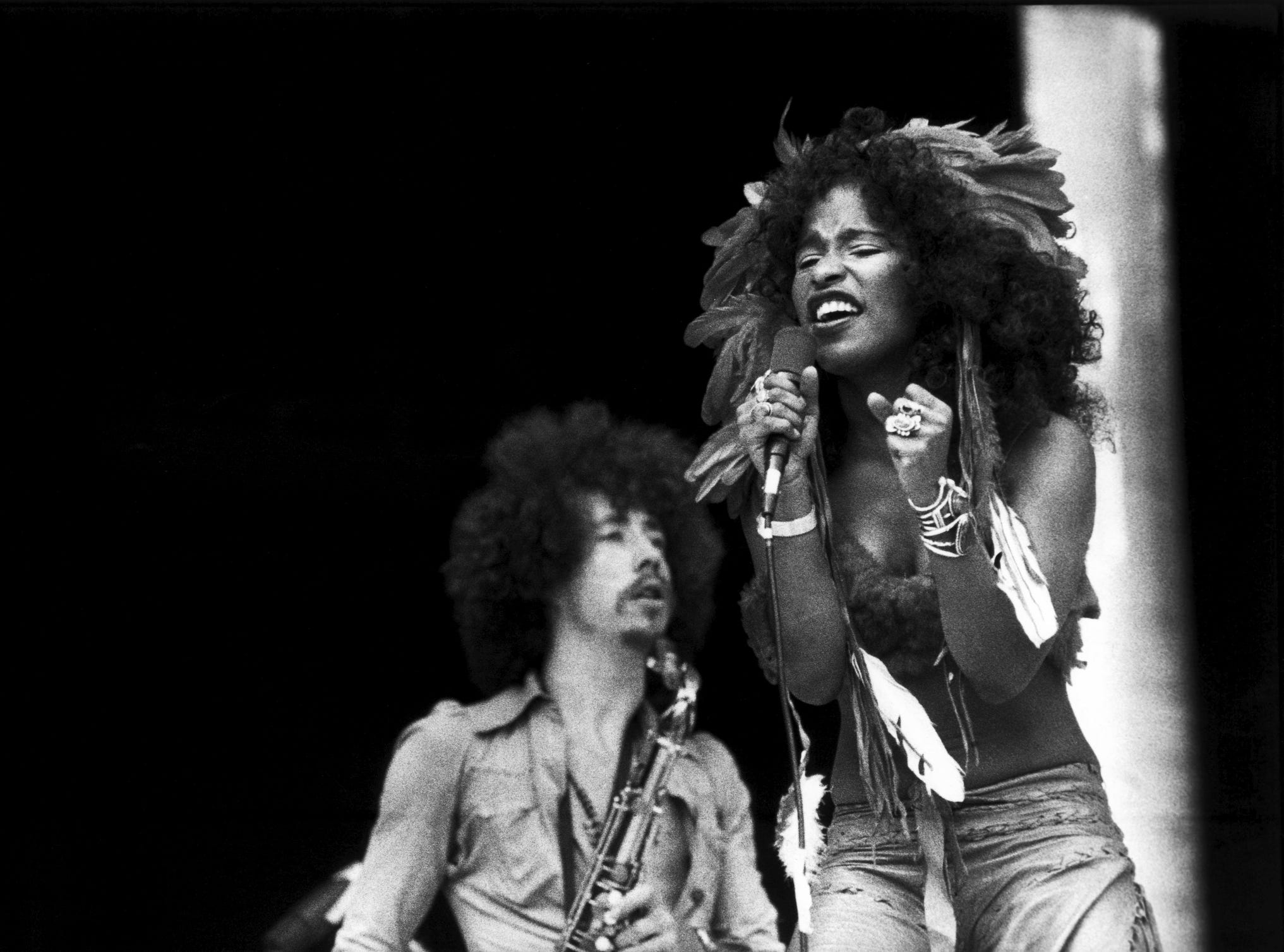 Chaka Khan performs performs with Rufus on stage at Midsummer Music, Wembley Stadium, on June 25, 1975.