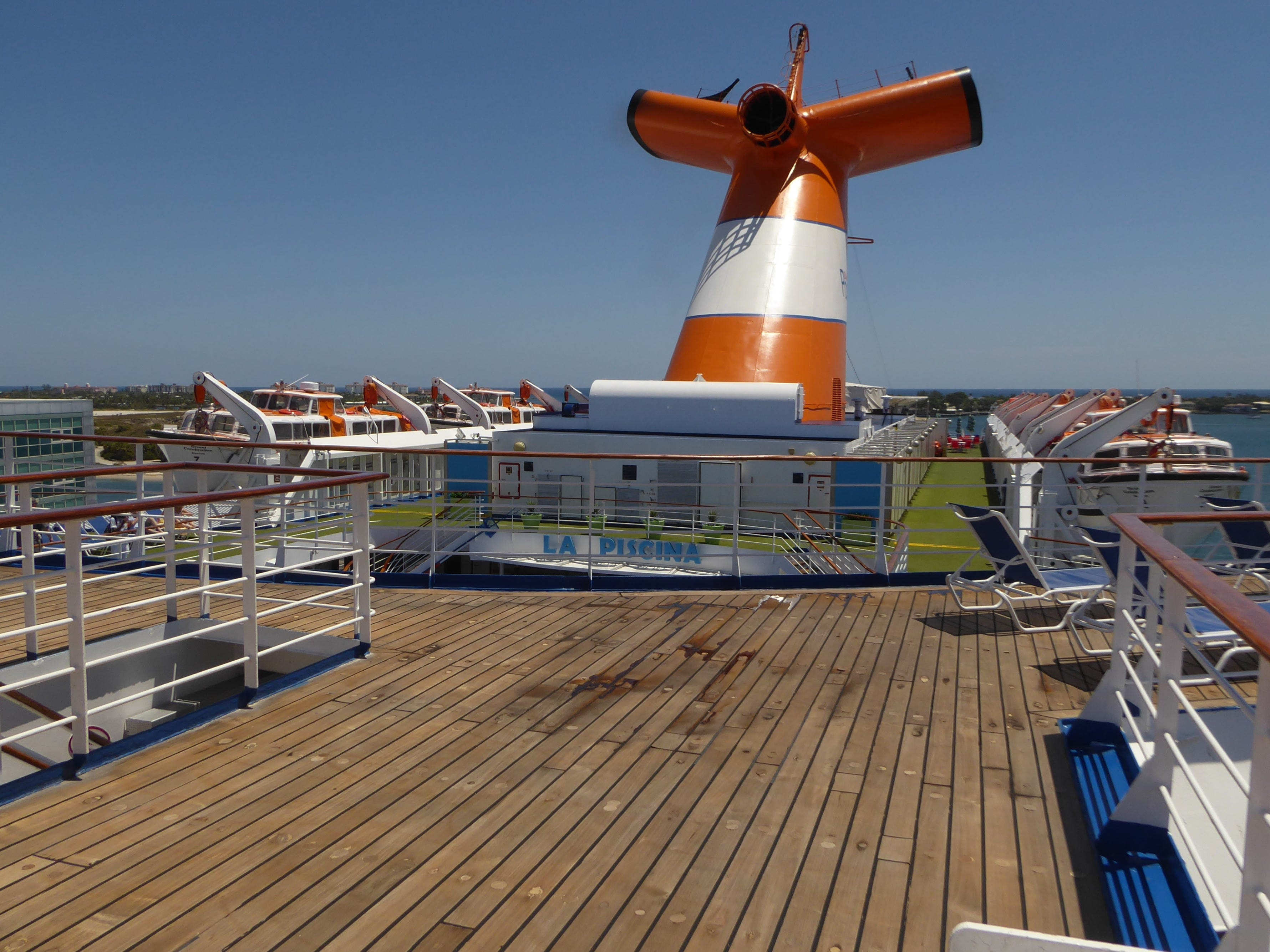 The aft portion of Sun Deck is also lined in teak.