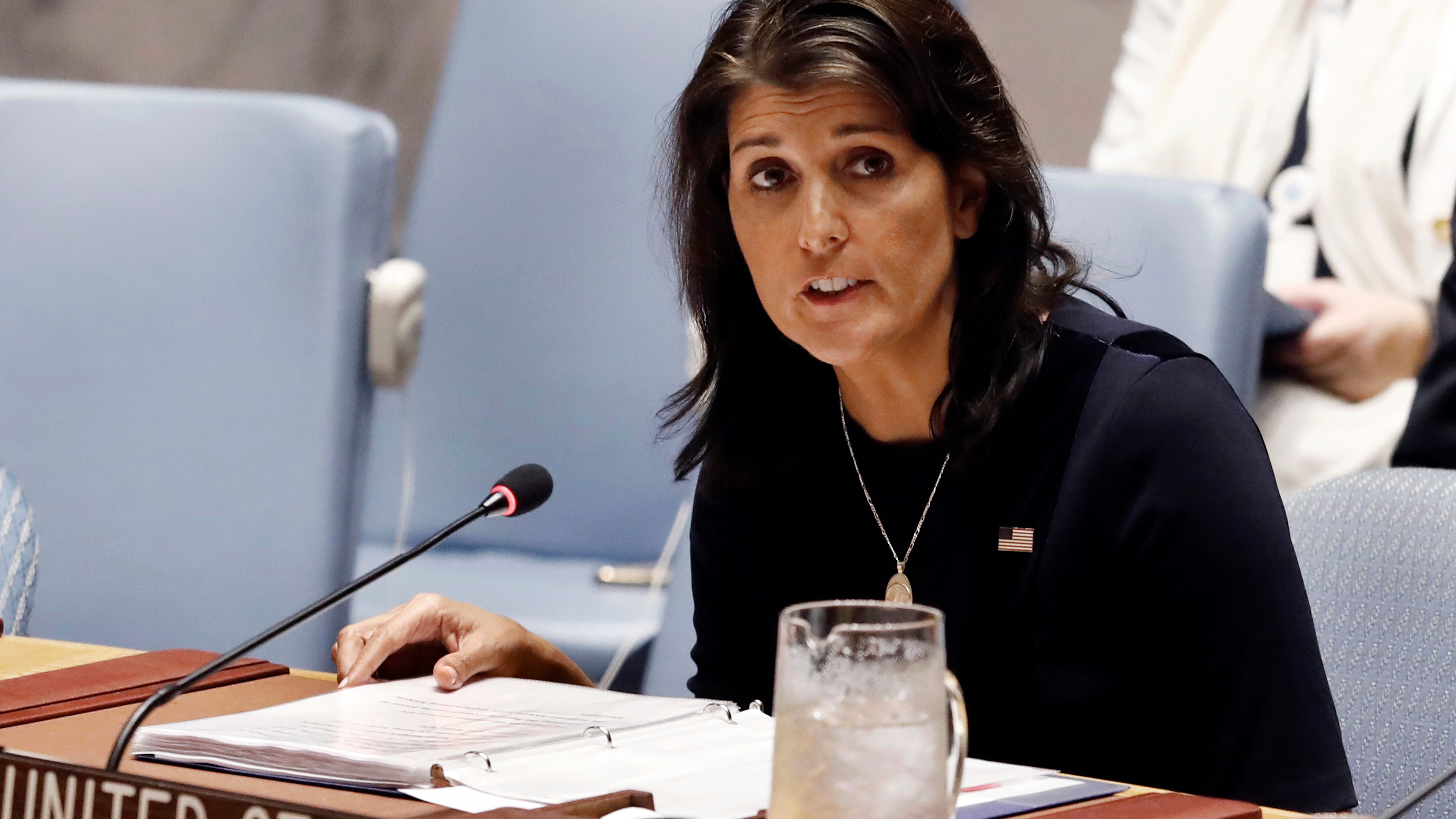 FILE - In this Sept. 17, 2018 file photo, U.S. Ambassador Nikki Haley addresses the United Nations Security Council at U.N. headquarters. (AP Photo/Richard Drew) ORG XMIT: WX106