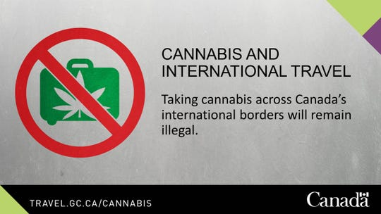 A sign that the Canadian government will post at international borders to remind travelers to remove marijuana from their baggage.