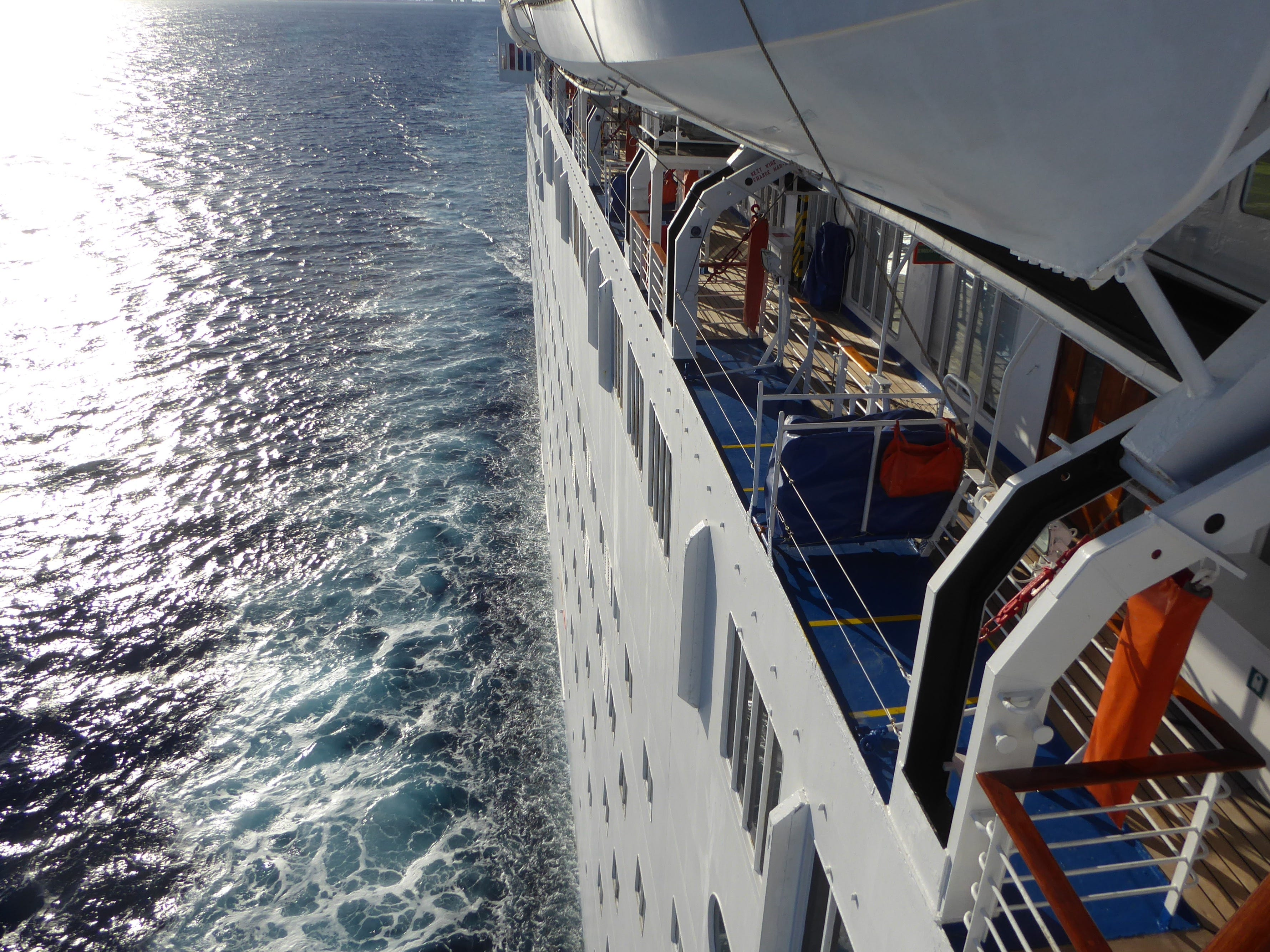 Slight wings project over the side of the ship on Venus Deck, offering vertiginous views of the sea.