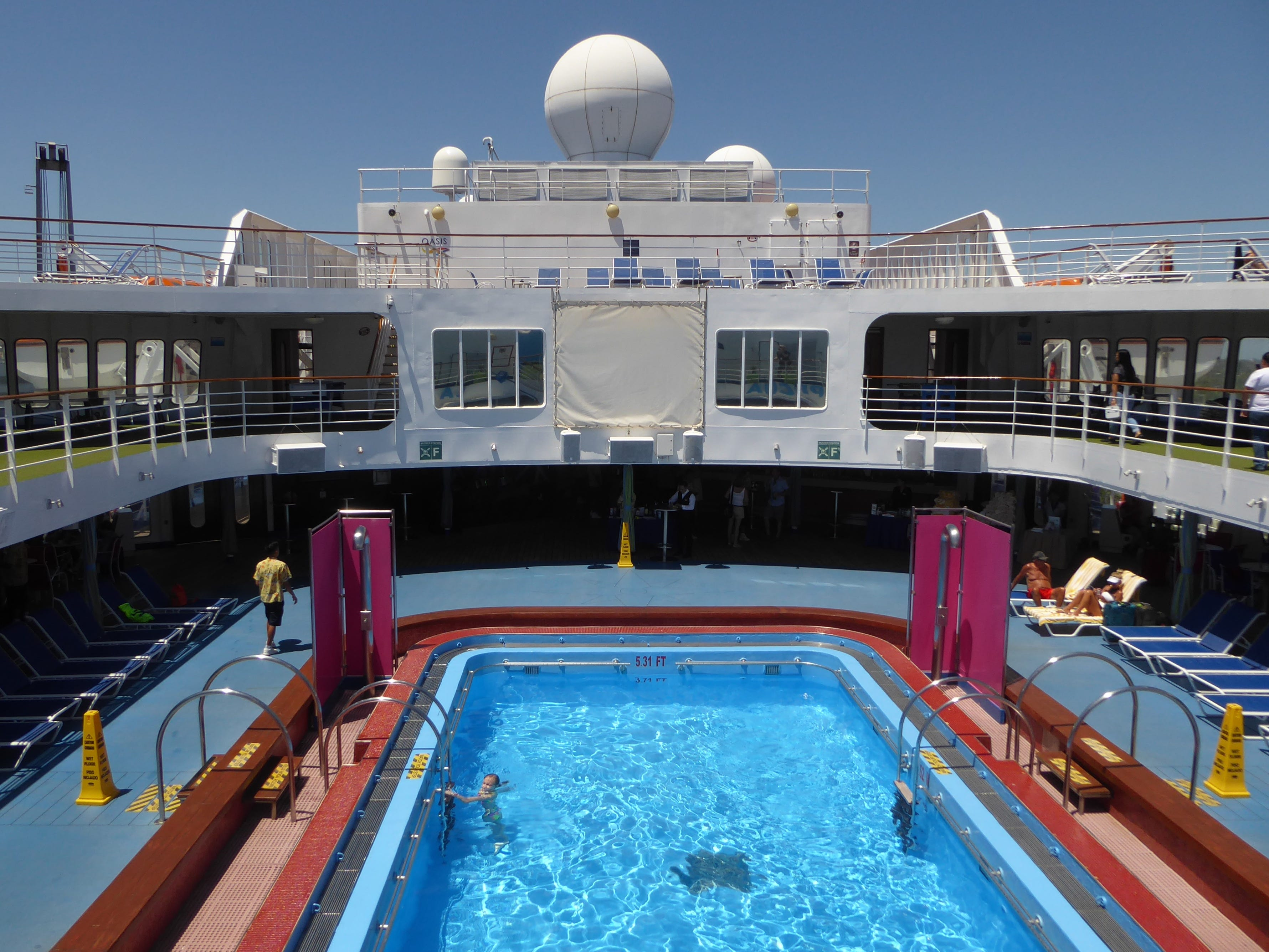 The next level, Venus Deck (11), overlooks the midships pool.