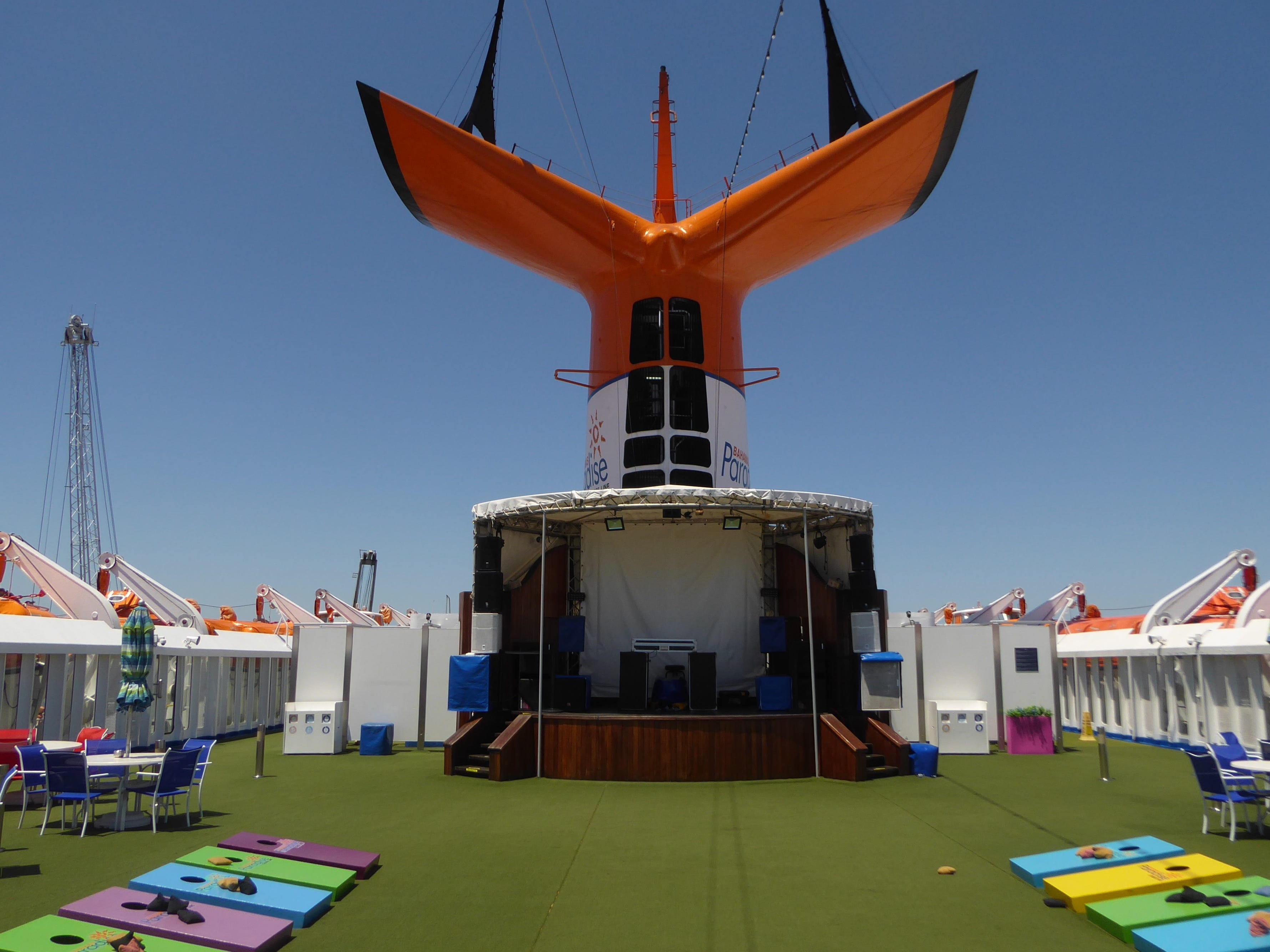 The aft portion of Venus Deck is home to a stage and a wide-open deck space.