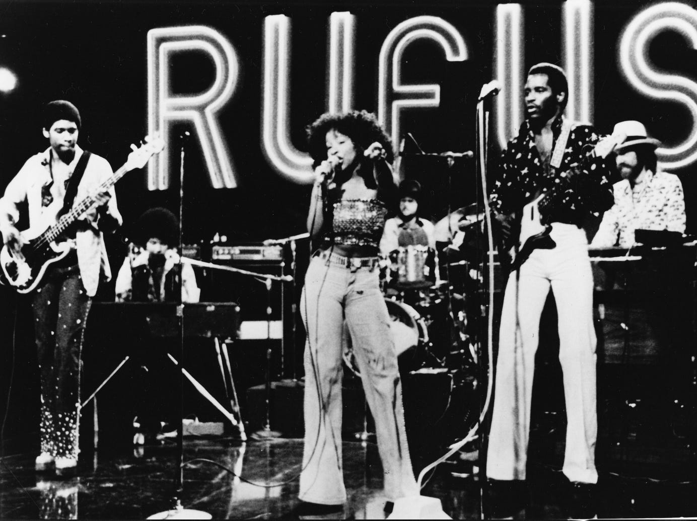 """Rufus featuring Chaka Khan performs on the television show """"Midnight Special,"""" 1975."""