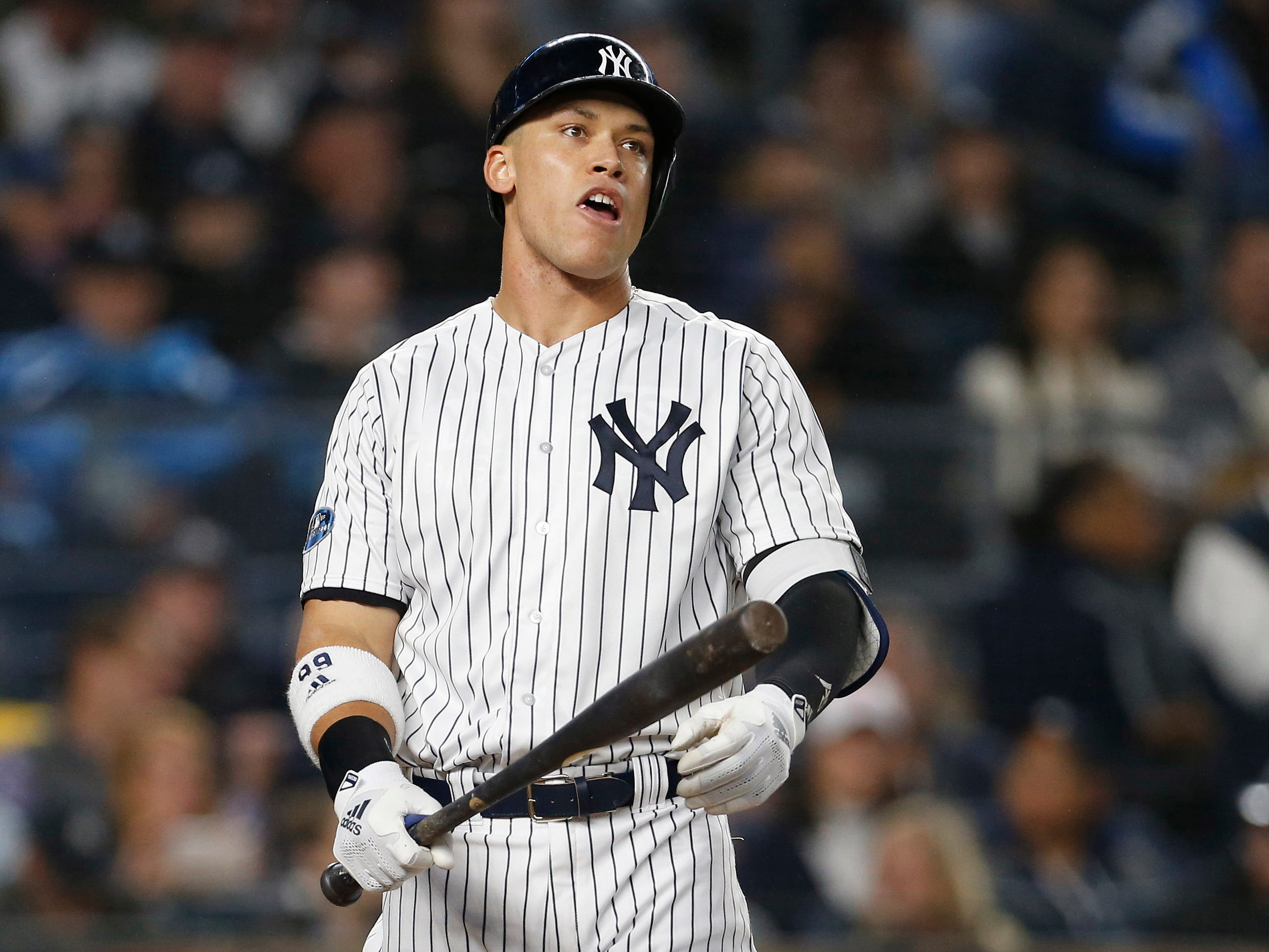 ALDS Game 3: Yankees right fielder Aaron Judge reacts after lining out in the first inning.