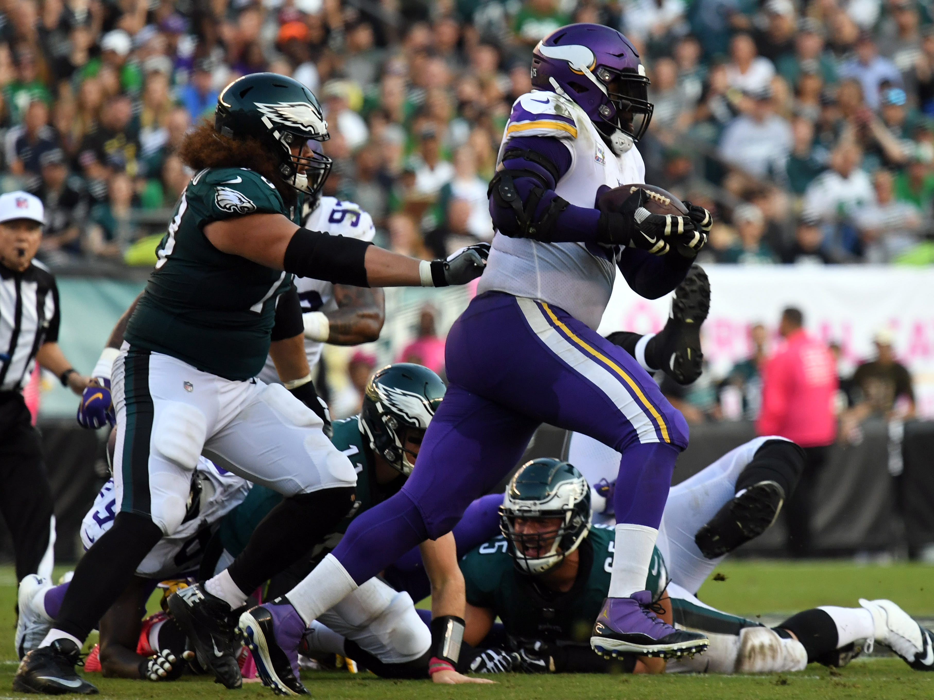 "12. Vikings (17): Clear solution to trigger league's second-worst run game is giving 329-pound Linval Joseph, who averages 64 yards per ""carry,"" some work."