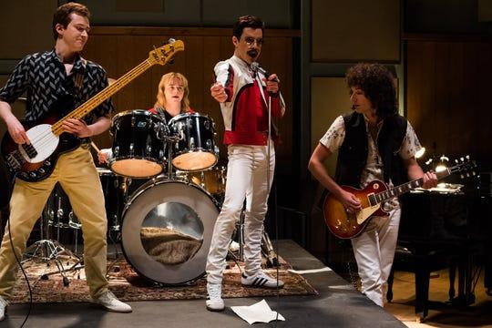 DF-25953 – L-R: Joe Mazzello (John Deacon), Ben Hardy (Roger Taylor), Rami Malek (Freddie Mercury), and Gwilym Lee (Brian May) star in Twentieth Century Fox's BOHEMIAN RHAPSODY. Photo Credit: Alex Bailey.