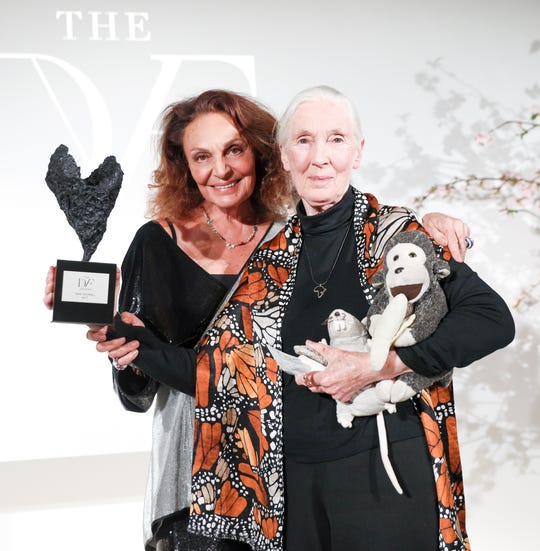 Chimpanzee expert Jane Goodall, right, received a Diller-von Furstenberg Lifetime Leadership award from Diane Von Furstenberg in 2017.