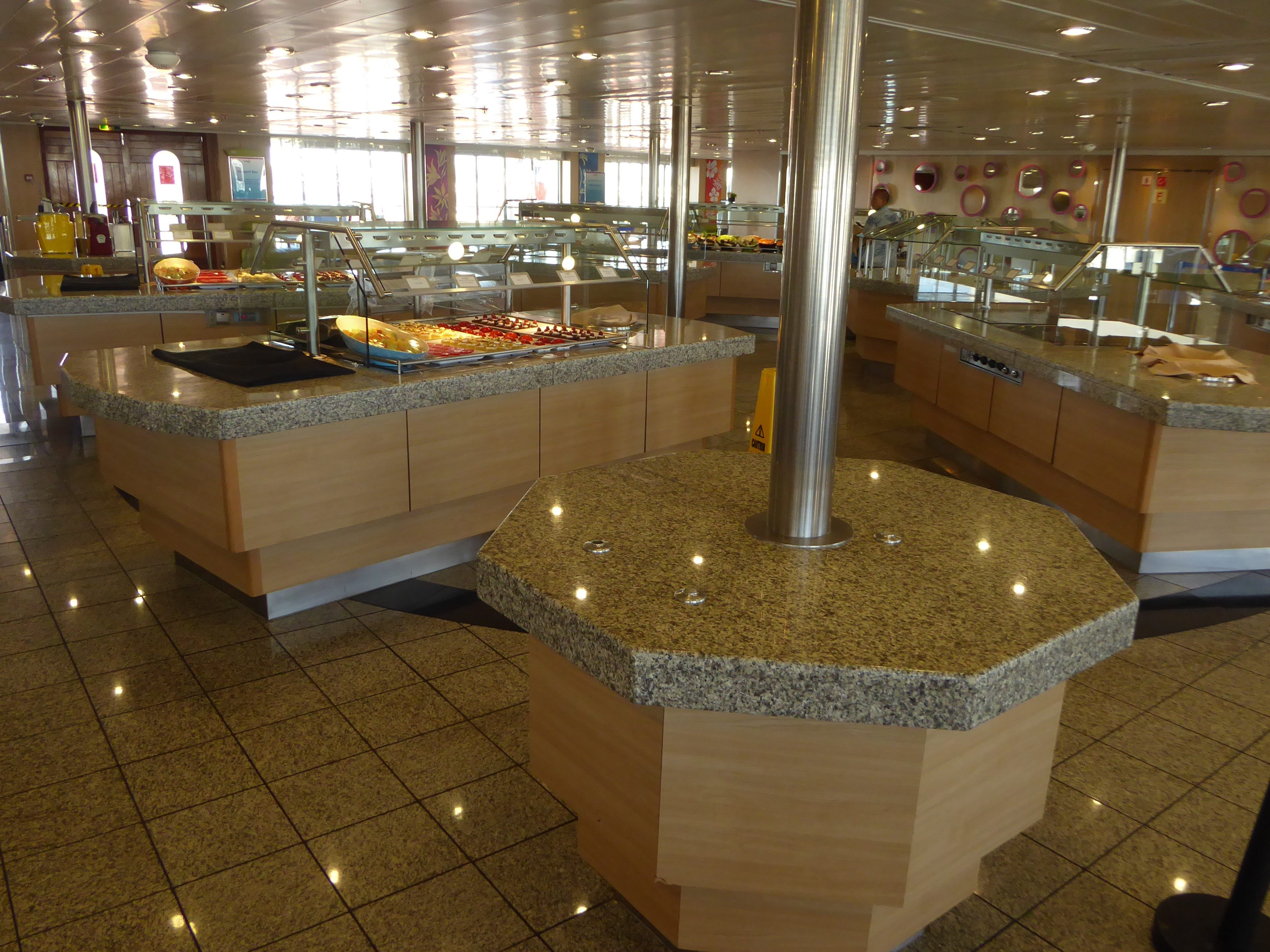 There is a cluster of granite-topped serving stations in the Ocean View buffet.