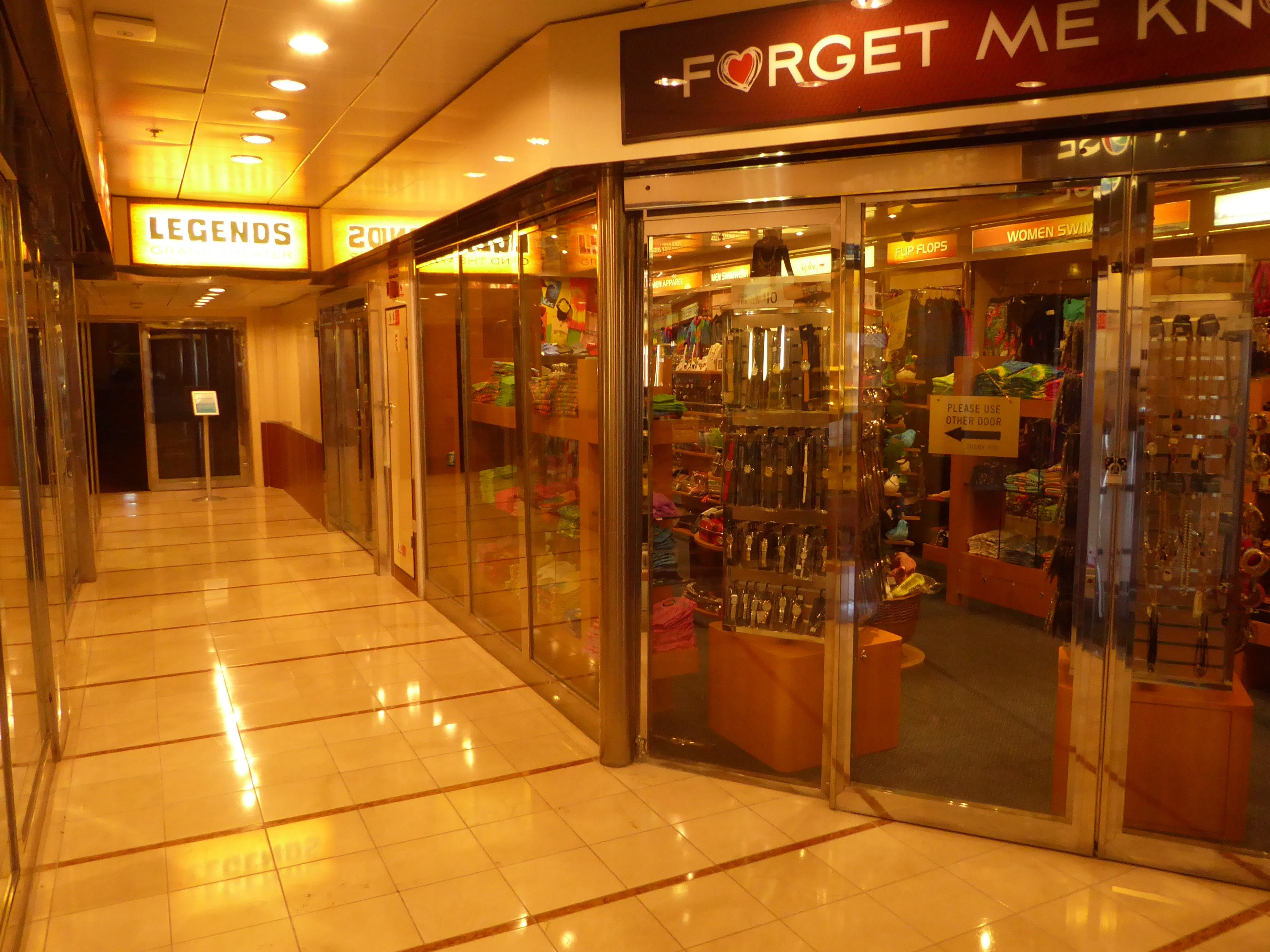 Forget Me Knot is a duty-free shop off the Aries Deck (8) entrance to the Legends Grand Theater.