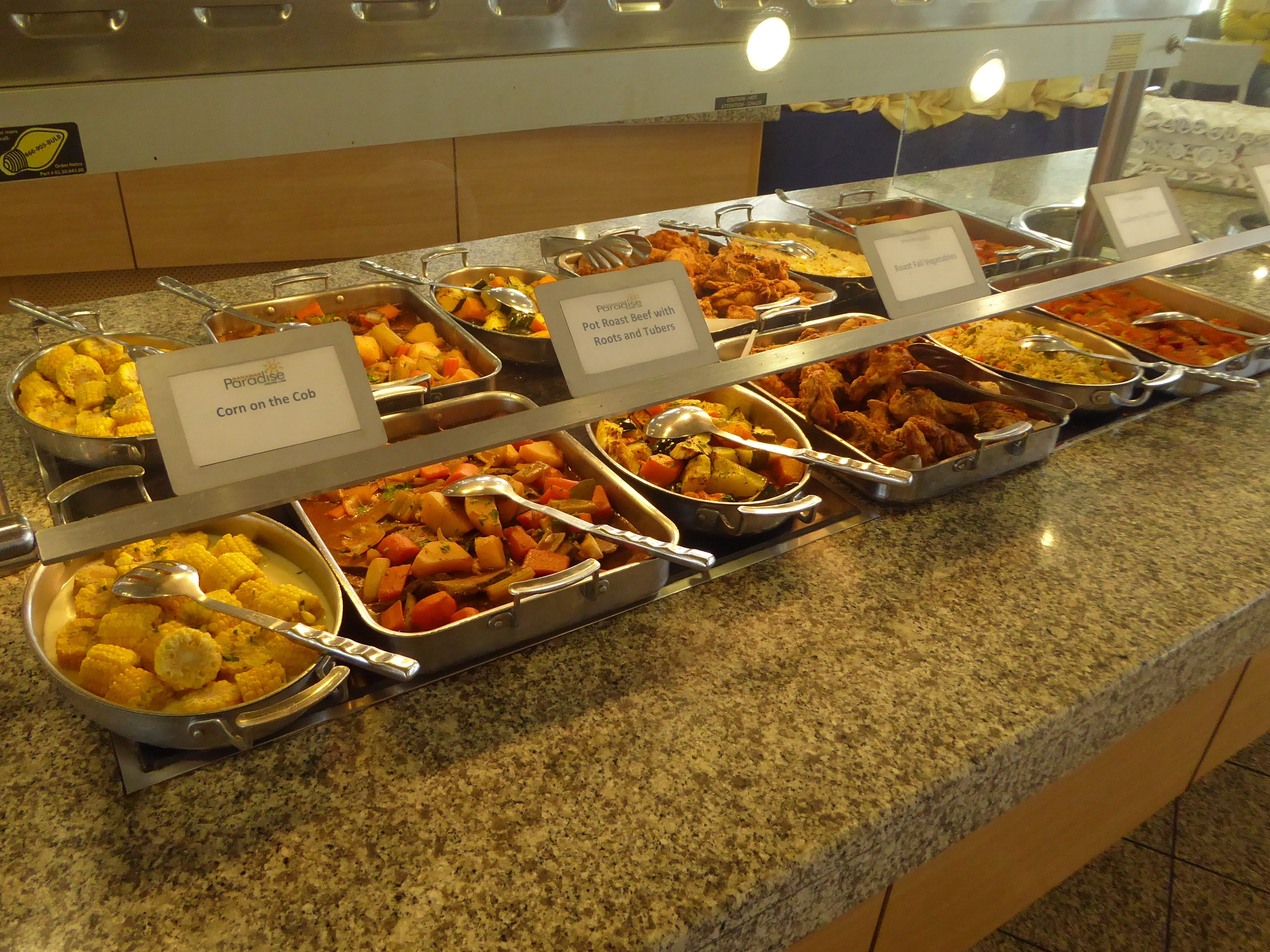 This is the hot entrée section of the Ocean View buffet.