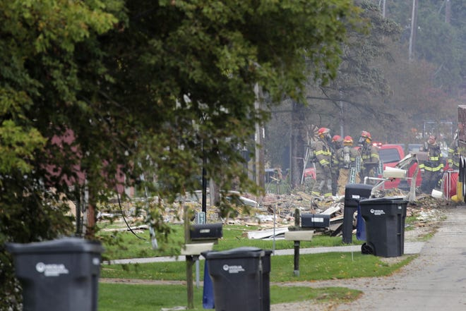 Debris is all that remains of a seasonal home that exploded Wednesday on Firelane 12 in Harrison.