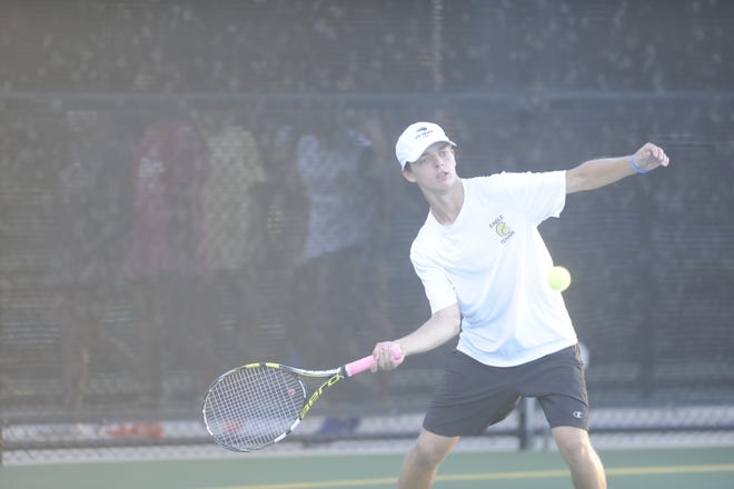 Abilene High's Luke Tebow hits a forehand during a match against San Angelo Central Oct. 9th, 2018.