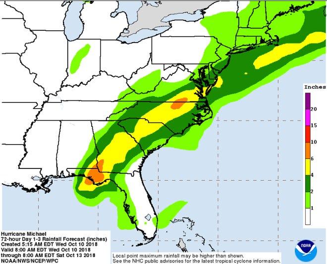 Hurricane Michael rainfall forecast, according to the National Hurricane Center
