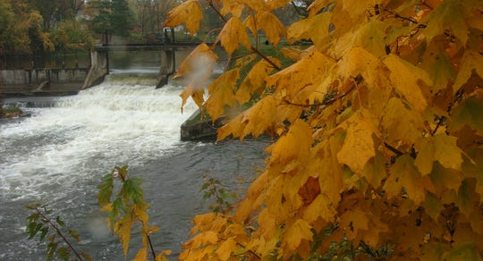 A fall scene at the Ceresco dam.