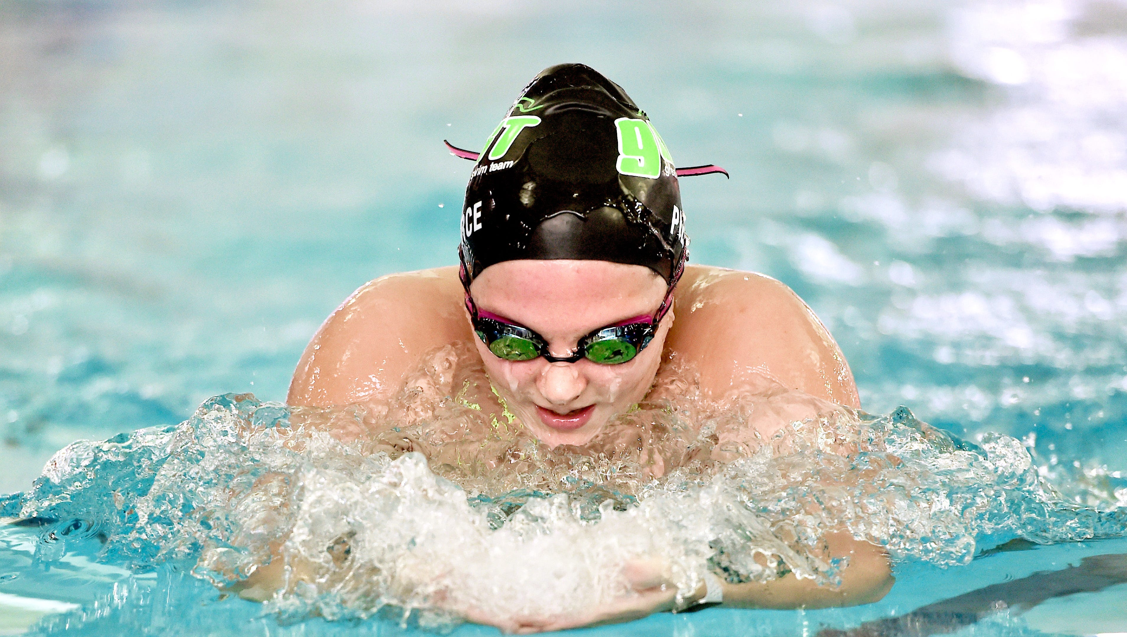 Summer Pierce, a senior at Owego Free Academy, recently broke pool records in the 200-yard individual medley and 100 butterfly during Owego's 96-90 victory at Maine-Endwell.