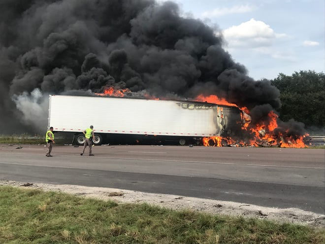 Deputies were at the scene of a fiery tractor-trailer crash near Micco on Wednesday.