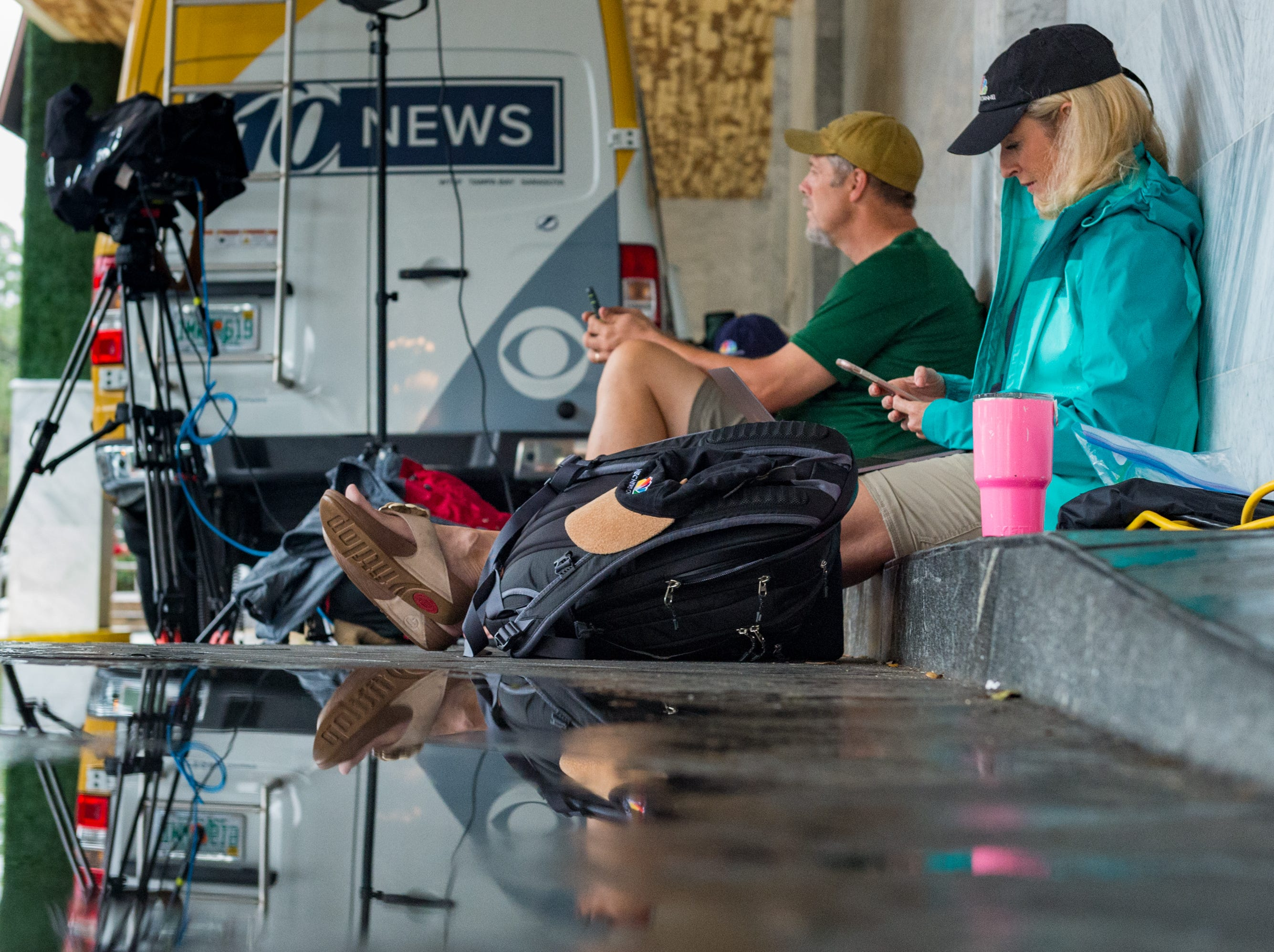 News crews in Tallahassee reporting on the status of the storm and await the arrival of Hurricane Michael in Tallahassee, FL. Wednesday, Oct. 10, 2018.