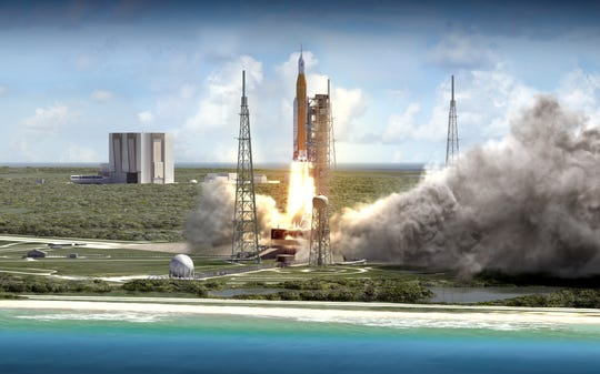 NASA's Space Launch System rocket launches from Kennedy Space Center's pad 39B in this rendering by the agency.