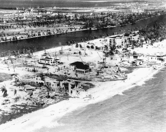 An aerial photo captures an image of the destruction in Miami Beach after the 1926 hurricane.