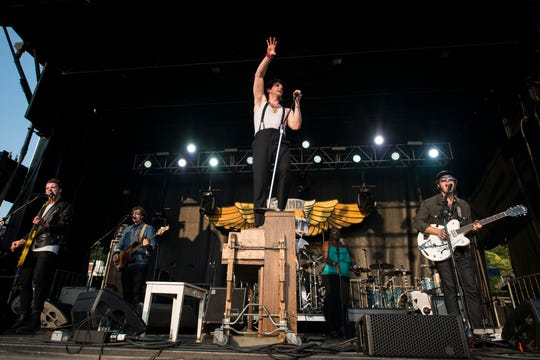 Low Cut Connie plays during the Grand Point North music festival on Sept. 17, 2017, in Burlington, Vt.